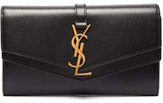Saint Laurent Sulpice Leather Continental Wallet - Womens - Black