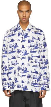 Name White and Blue Space Pyjama Shirt