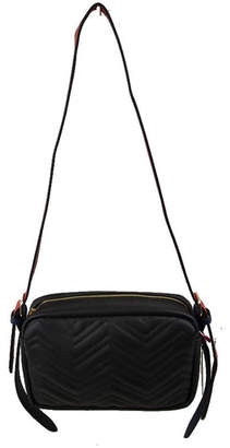 Empire Handbags Quilted Vegan Leather Crossbody Wide Straps