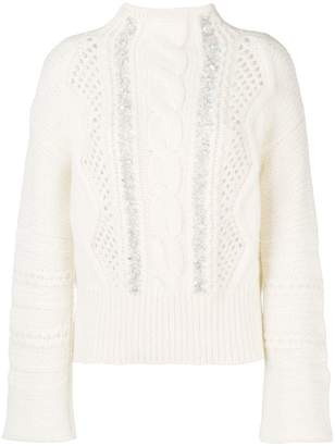 Ermanno Scervino embellished cable knit sweater