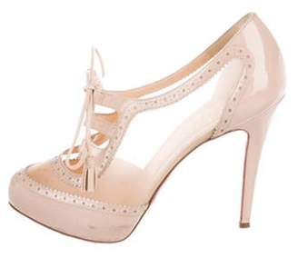 Christian Louboutin Patent Leather Lace-Up Booties Tan Patent Leather Lace-Up Booties