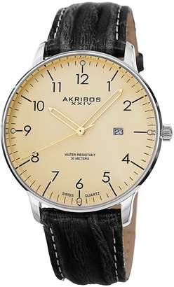 Akribos XXIV Men's Men's Swiss Quartz Leather Strap Watch