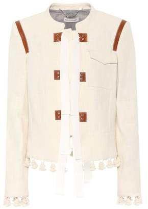 Altuzarra Avenue leather-trimmed cotton jacket