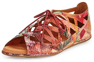 Gentle Souls Betsi Laser-Cut Lace-Up Sandal $189 thestylecure.com