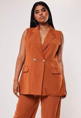 Missguided Plus Size Terracotta Co Ord Long Sleeveless Blazer