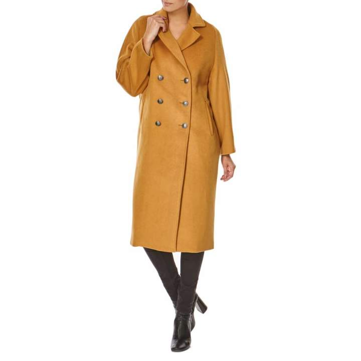 Camel Double Breasted Wool Blend Coat