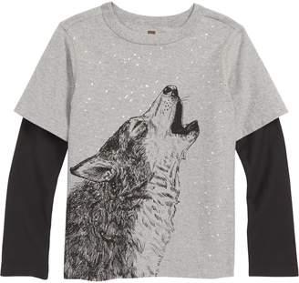Tea Collection Husky Howl Layered Sleeve T-Shirt