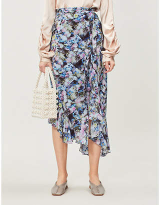 Preen Line Daria floral-print chiffon midi wrap skirt