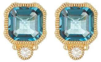 Judith Ripka 14K Gold Cushion Cut London Blue Topaz & Diamond Accent Stud Earrings