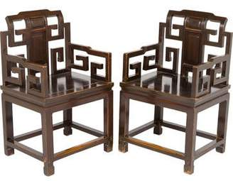 Pair of Chinese Elmwood Armchairs