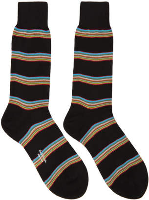 Paul Smith Black Multistripe Block Socks