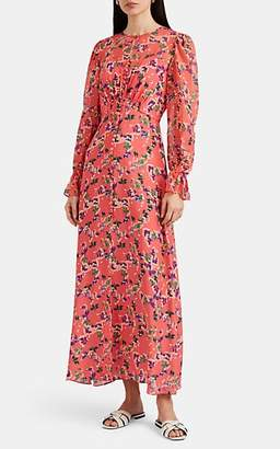 Saloni Women's Becky Floral Silk Midi-Dress - Orange
