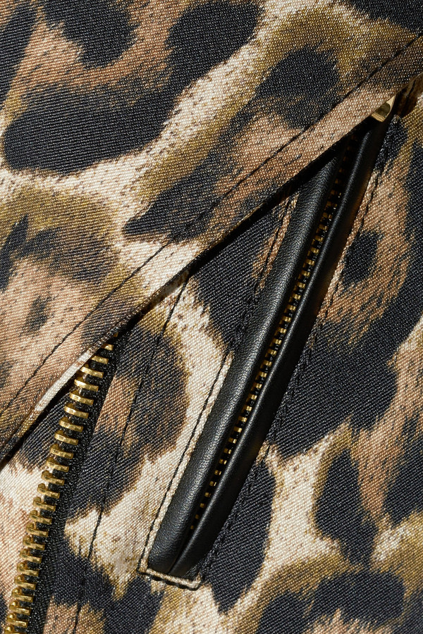Just Cavalli Leopard-print cotton-blend and faux leather jacket