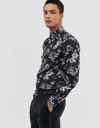 Twisted Tailor super skinny shirt in leopard floral print