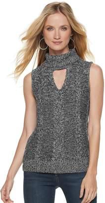 JLO by Jennifer Lopez Women's Marled Sleeveless Turtleneck Sweater