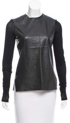 Helmut Lang Leather Long Sleeve Top w/ Tags