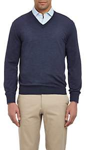 Brunello Cucinelli Men's Tipped V-neck Sweater - Navy