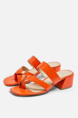 Topshop Womens Darcy Red Toe Loop Sandals - Red