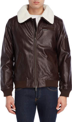 Members Only Brown Faux Leather Flight Jacket