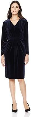 Savoir Faire Dresses Women's Velvet Long Sleeve V Neck Elastic Front Dress 4