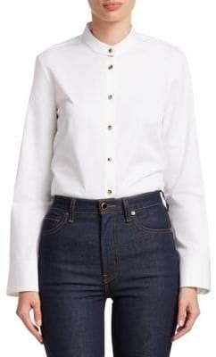 Dakota Khaite Collarless Button-Down Shirt