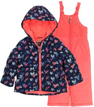 Osh Kosh Oshkosh Bgosh Baby Girl Navy & Coral Heart Heavyweight Hooded Jacket & Bib Snow Pants Set