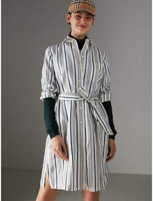 Burberry Striped Silk Shirt Dress , Size: 08