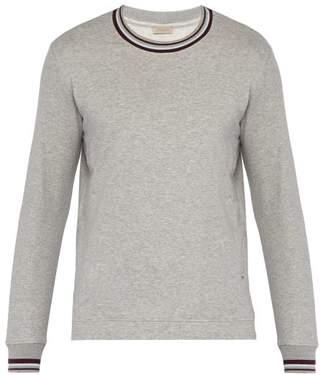 Zimmerli Striped Trim Cotton Blend Sweatshirt - Mens - Light Grey