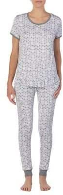 Kensie Printed Ruffle-Peplum Tee & Pants Pajamas Set