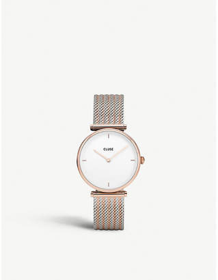 Cluse Triomphe stainless steel and rose gold-toned watch