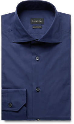 Ermenegildo Zegna Navy Cotton-Poplin Shirt - Men - Navy