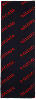 Balenciaga Navy and Red Allover Logo Scarf