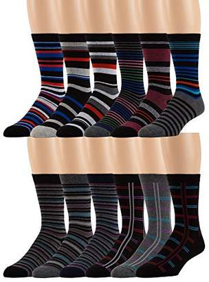 Blend of America Men's Cotton Dress Socks -12 Pairs Asstd Colors, Striped Patterns -by ZEKE, 10-13 Sock Size Shoe Size 8-12