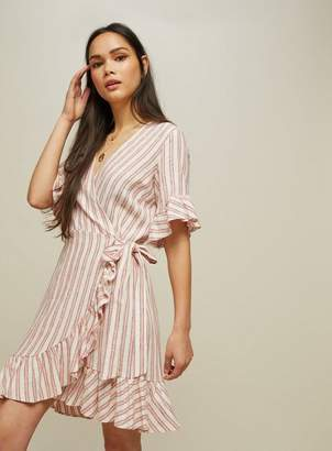 Miss Selfridge Striped frill wrap dress