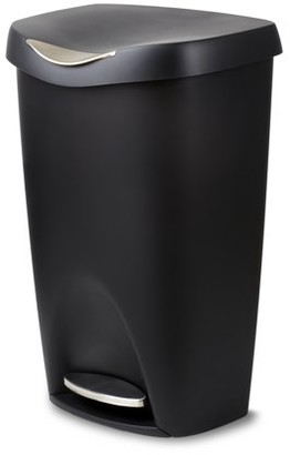 Umbra Brim Large Kitchen Trash Can with Stainless Steel Foot Pedal Stylish and Durable 13 Gallon Step Garbage Can with Lid, (Black)