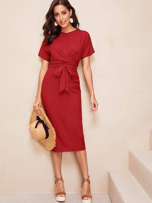 Shein Twist Front Self Belted Slit Hem Dress