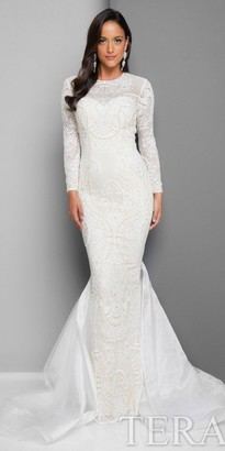 Terani Couture Long Sleeve Fitted Lace Evening Gown $671 thestylecure.com