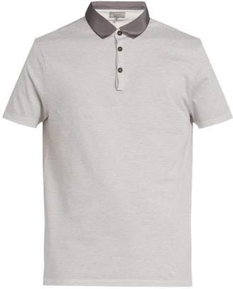 Lanvin Grosgrain Collar Cotton Pique Polo Shirt - Mens - Grey
