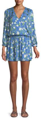 Alice + Olivia Adaline V-Neck Smocked Waist Mini Dress