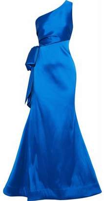 Sachin + Babi Vanessa One-Shoulder Bow-Embellished Duchesse Satin-Twill Gown