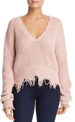 Elan International Distressed V-Neck Sweater