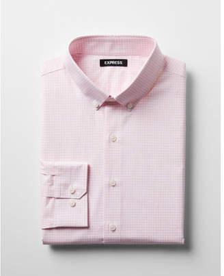 Express extra slim check button collar dress shirt