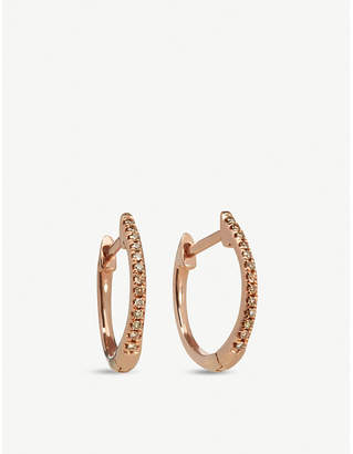 Annoushka 18ct rose gold and brown diamond Eclipse fine hoop earrings