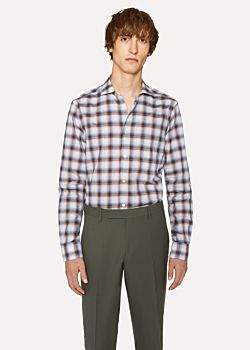 Paul Smith Men's Tailored-Fit Ombre Check Cotton Shirt