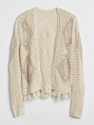 Gap Open-Front Crochet Fringe Cardigan Sweater