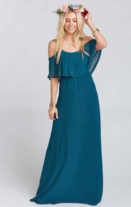 Show Me Your Mumu Caitlin Ruffle Maxi Dress ~ Deep Jade Chiffon
