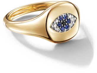 David Yurman 18kt yellow gold Cable Collectibles Evil Eye sapphire and diamond mini pinky ring