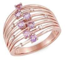 Lord & Taylor 14K Rose Gold, Round-Shape Pink Amethyst & Diamond Dome Ring