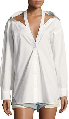 Alexander Wang Long-Sleeve Cotton Poplin Oversized Shirt with Neck Tape Detail