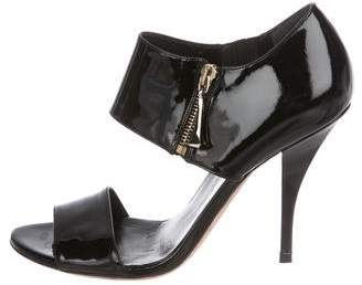 Gucci Patent Leather Peep-Toe Sandals